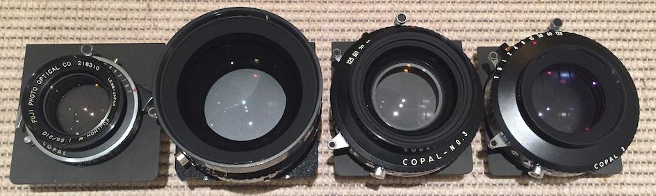 Lenses for 8x10 Studio Camera: Fujinon W 210/5.6, Nikkor W 300/5.6, G-Claron 355/9, Nikkor M 450/9